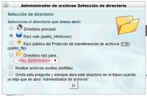 Selección de directorio del administrador de archivos en cPanel