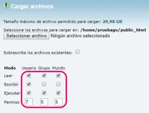 Seleccionar los archivos y permisos para subir WordPress al hosting