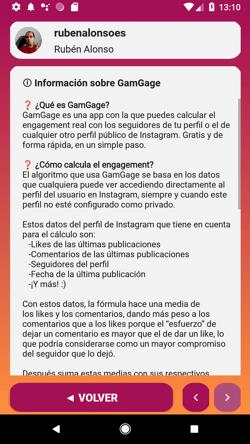 GamGage información sobre la app