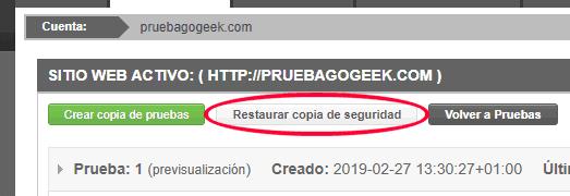 Restaurar la copia de seguridad de la versión de WordPress original