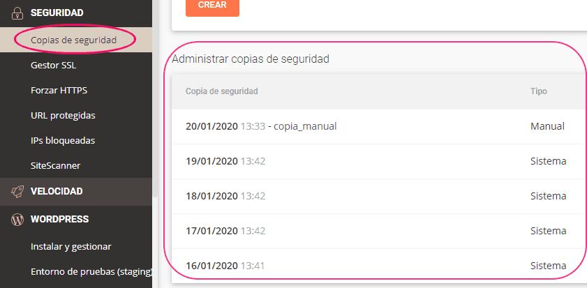 Copias de seguridad automáticas del hosting