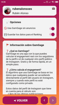 Opciones de GamGage