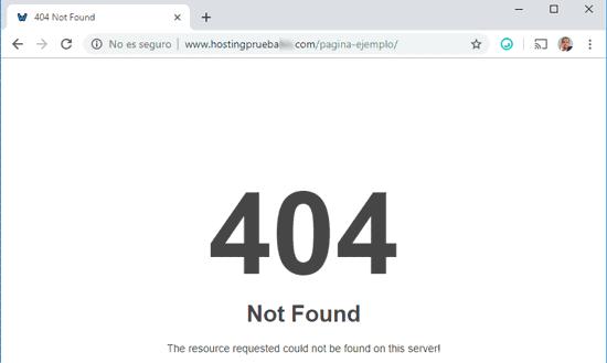 Error HTTP 404 para la prueba de soporte al cliente