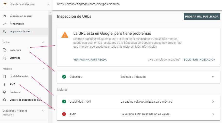 Informe de inspección de URLs en Search Console