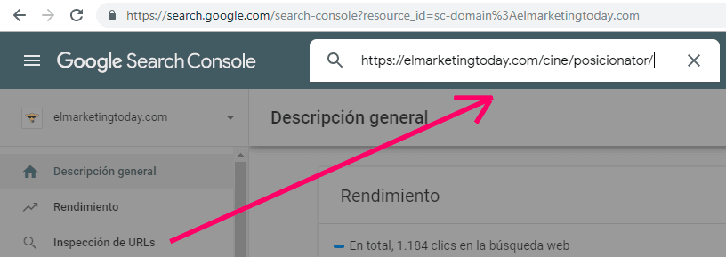Inspección de URLs en Search Console
