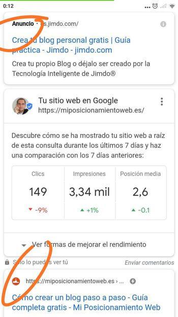 Nuevo aspecto de las SERPs de Google en el móvil con favicons