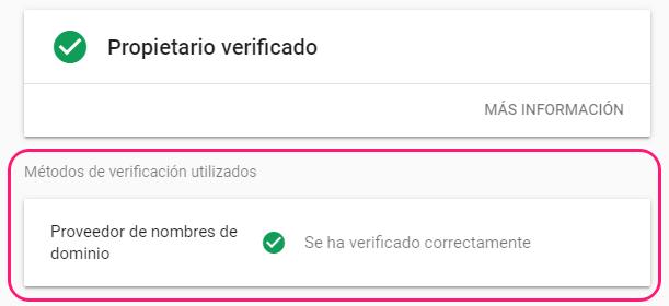 Configuración verificación de la propiedad y métodos usados