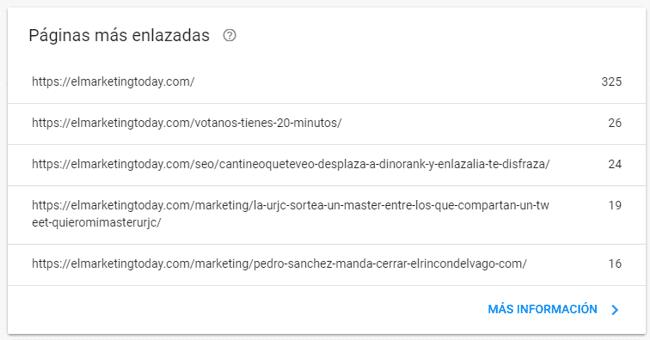 Informe de enlaces externos con las páginas más enlazadas en Search Console