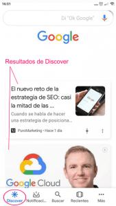 Resultados de Google Discover