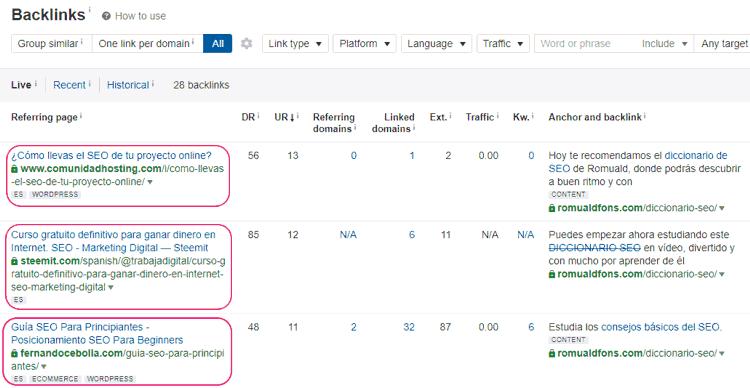 Ejemplo de SEO off page analizando backlinks con la herramienta Ahrefs