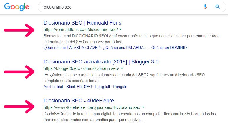 Ejemplo de SEO off page haciendo una búsqueda