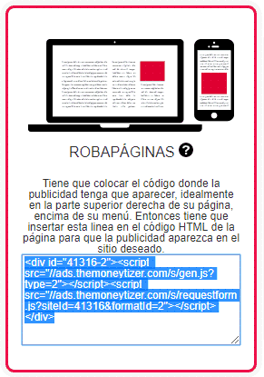 Código generado del Robapáginas de The Moneytizer