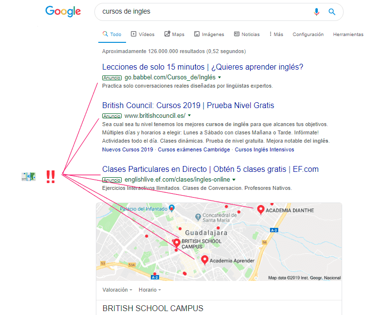 Ejemplo de búsqueda sobre tema monetizable