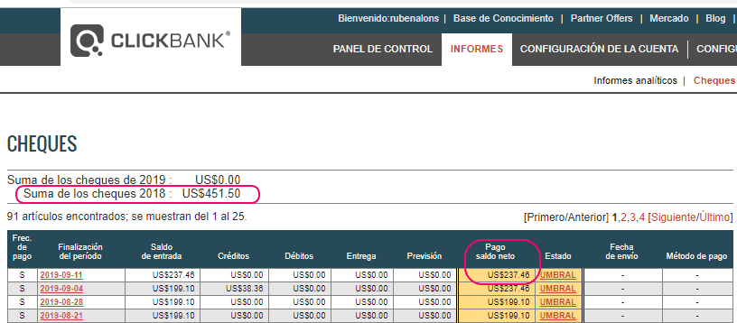 Ingresos por marketing de afiliación en ClickBank