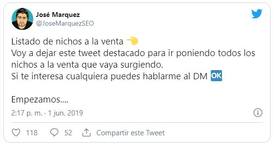 Tweet de Jose Marquez que vende webs y blogs