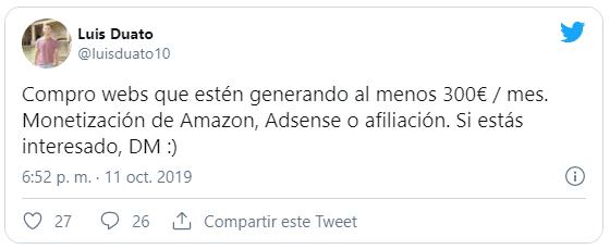 Tweet de Luis Duato que compra webs y blogs