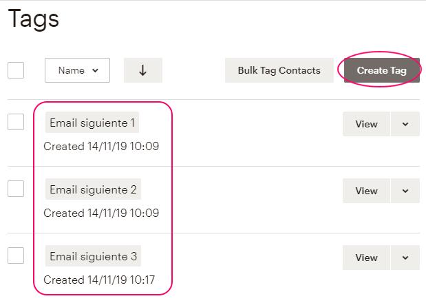 Crear Tags para serie automatizada en MailChimp