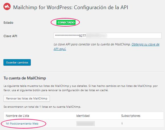 MC4WP de WordPress conectado a tu cuenta de MailChimp