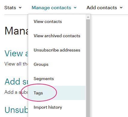 Menú Tags de MailChimp