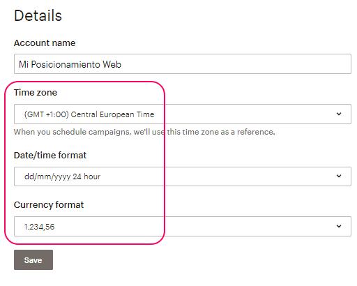 Detalles de la cuenta - Ajustes básicos en MailChimp