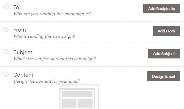 Apartados a configurar en la campaña Regular de MailChimp