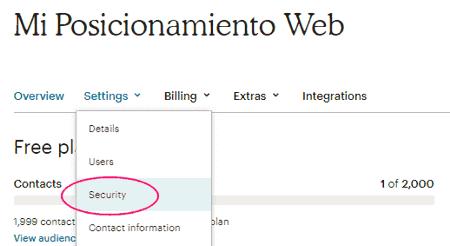 Menú Security - Autenticación en 2 pasos en MailChimp