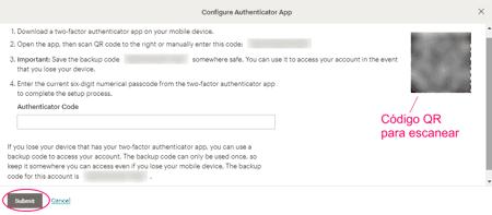 Código QR - Autenticación en 2 pasos en MailChimp