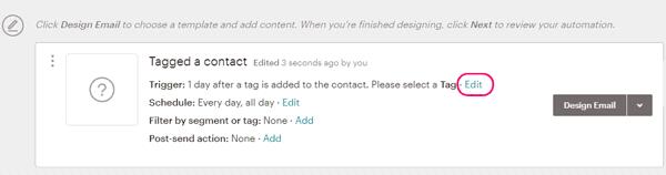 Cambiar trigger email de bienvenida en MailChimp
