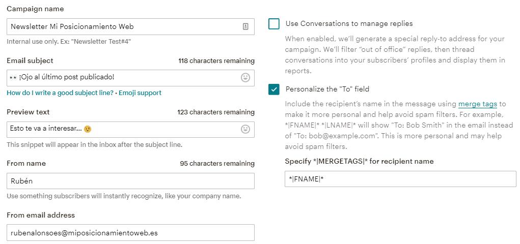 Configuración de la campaña Automated de MailChimp