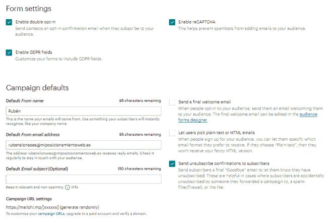 Configuración de formularios y campañas de la audiencia en MailChimp
