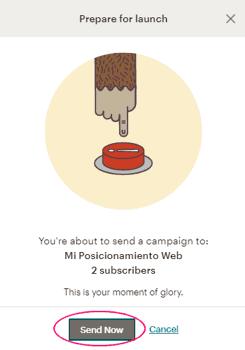 Confirmar el envío de la campaña Regular en MailChimp