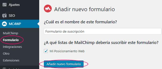 Crear un nuevo formulario de suscripción en WordPress para MailChimp