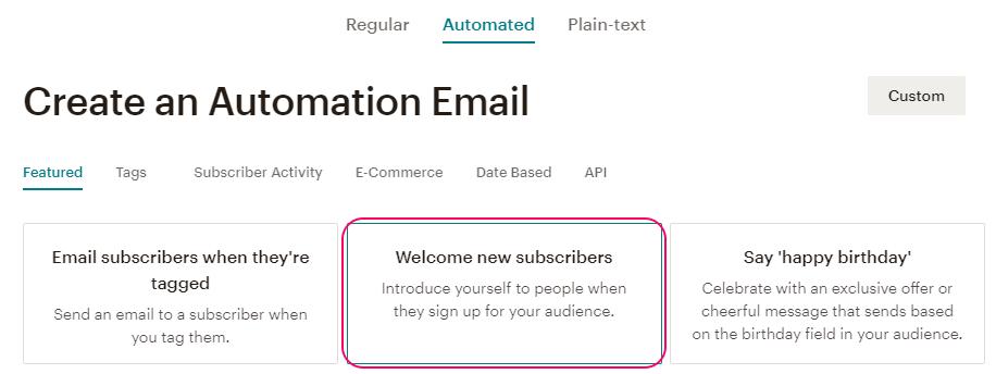 Crear una campaña Automated de bienvenida en MailChimp