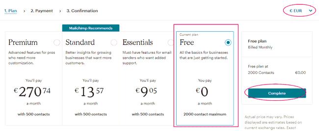 Elegir plan gratuito de MailChimp