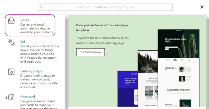 Elegir tipo de campaña de MailChimp