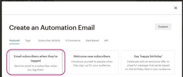 Enviar email cuando el suscriptor está etiquetado en MailChimp