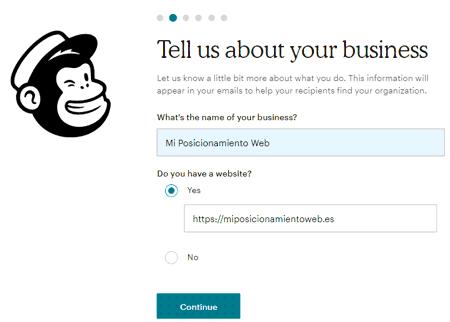 Nombre del negocio, web o blog en MailChimp