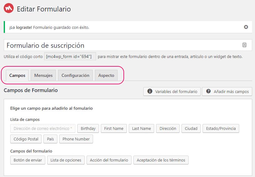 Nuevo formulario de suscripción de MC4WP creado para MailChimp