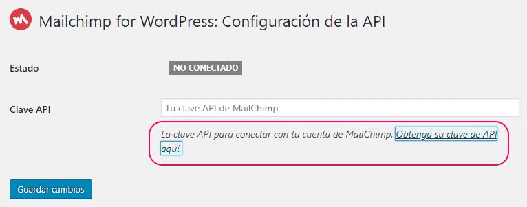 Obtener clave de API de MailChimp para MC4WP