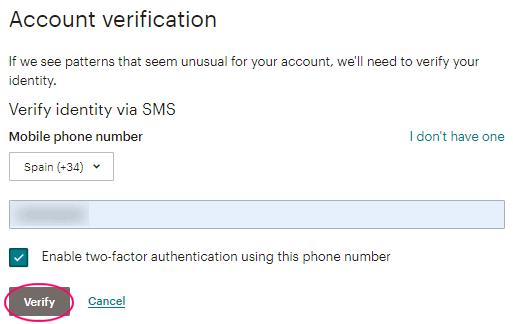 Añadir teléfono - Verificación vía SMS en MailChimp