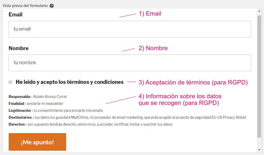 Vista previa del formulario de suscripción de MC4WP para MailChimp