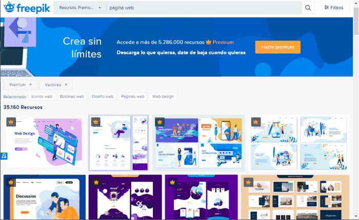 Búsqueda de imágenes vectoriales en Freepik Premium