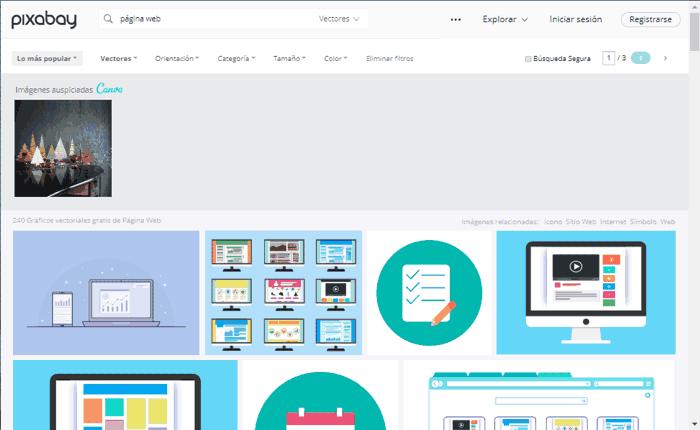 Búsqueda de imágenes vectoriales en Pixabay