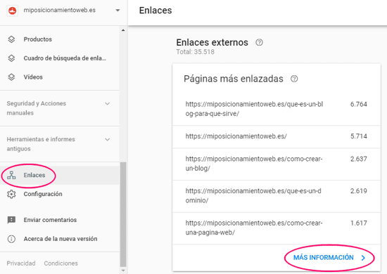 Datos de enlaces externos en Search Console