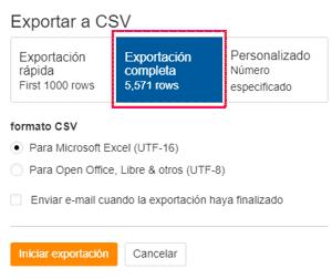 Descargar completa CSV de datos de enlaces entrantes externos en Ahrefs