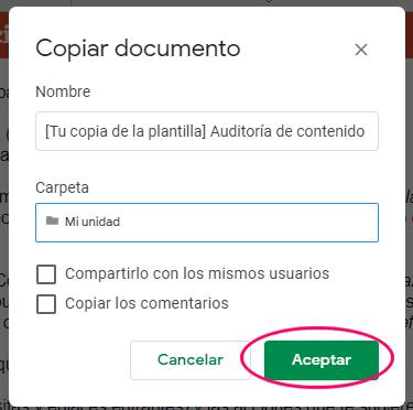 Guardar copia de la plantilla de Auditoría de contenido SEO