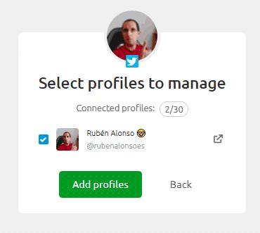 Elegir el perfil de Twitter a gestionar