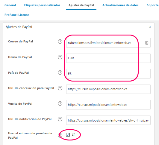 Ajustes de PayPal en LearnDash