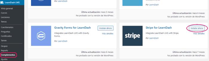 Complemento de Stripe para LearnDashs