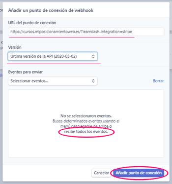 Configurando el nuevo webhook o punto de conexión en Stripe